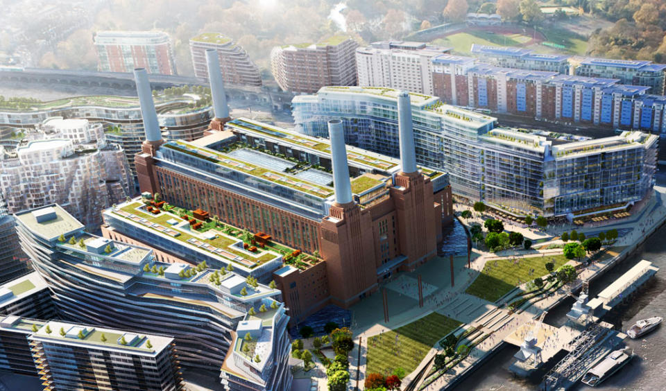 aerial view of Battersea power station development